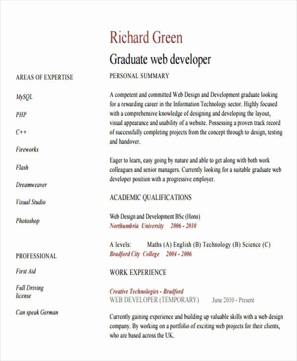 10 Web Developer Resume Templates Pdf Doc