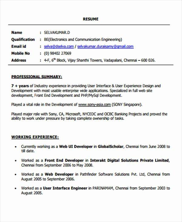 web developer resume sample