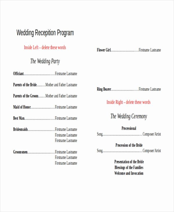 10 Wedding Program Templates Free Sample Example