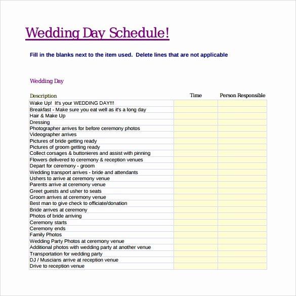 10 Wedding Schedule Samples