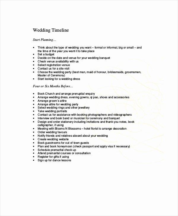 10 Wedding Timeline Templates Free Sample Example