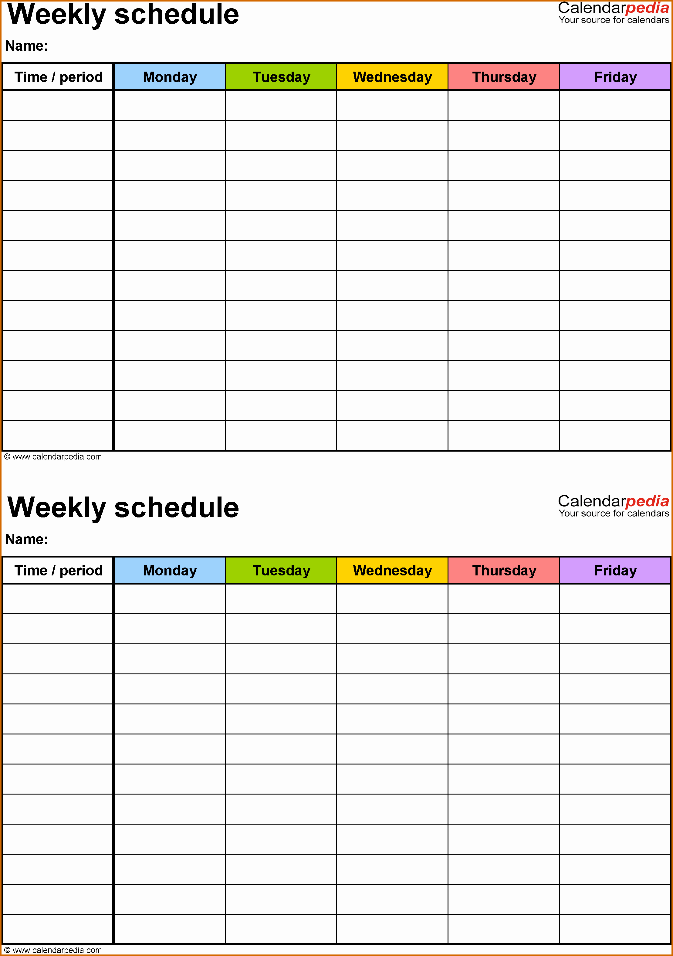 10 Weekly Class Schedule Template Printable
