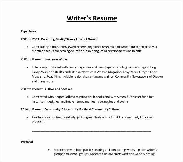 10 Writer Resume Templates Pdf Doc