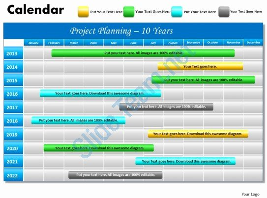 10 Year Planning Gantt Chart Powerpoint Slides Gantt Ppt