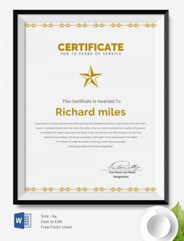 10 Year Service Certificate Template to Pin On