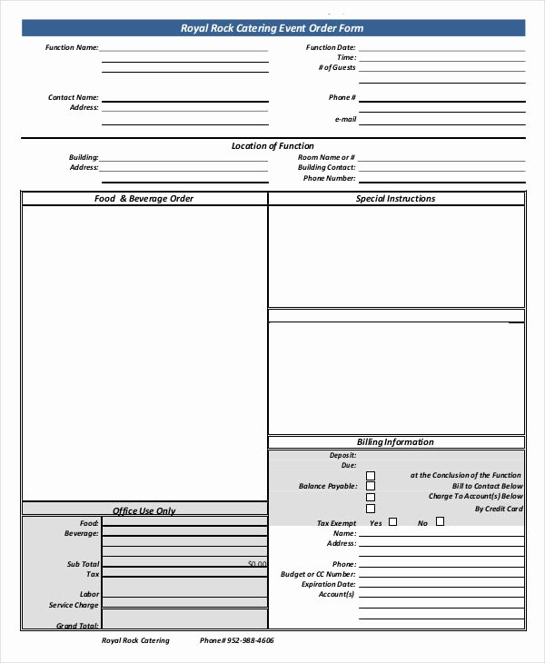 100 Catering event order form Template Catering order