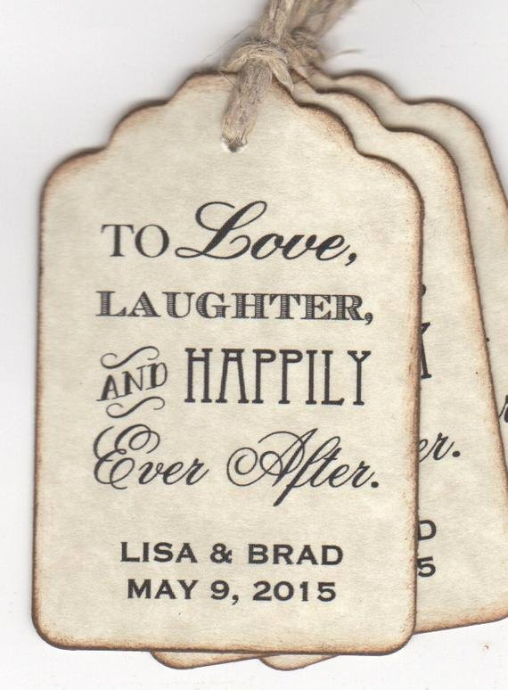 100 Wedding Favor Tags Shower Favor Tags to Love Laughter and