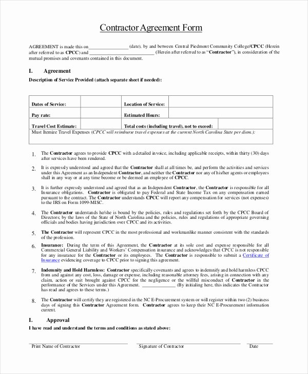 1099 Subcontractor Agreement Template Templates Resume