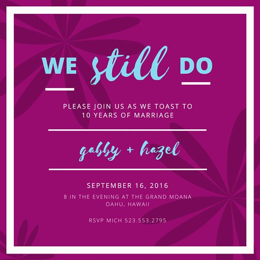 10th Wedding Anniversary Floral Invitation Templates by