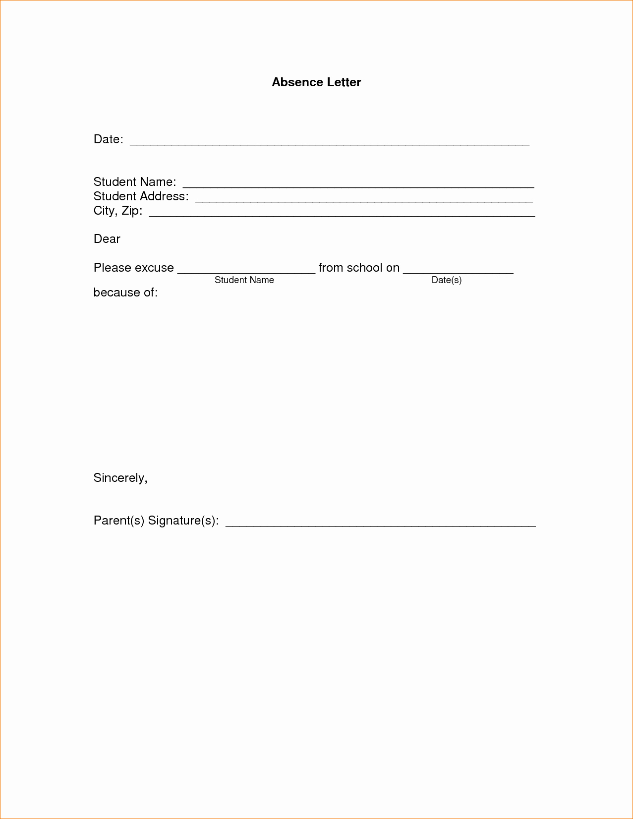11 Absence Excuse Letteragenda Template Sample