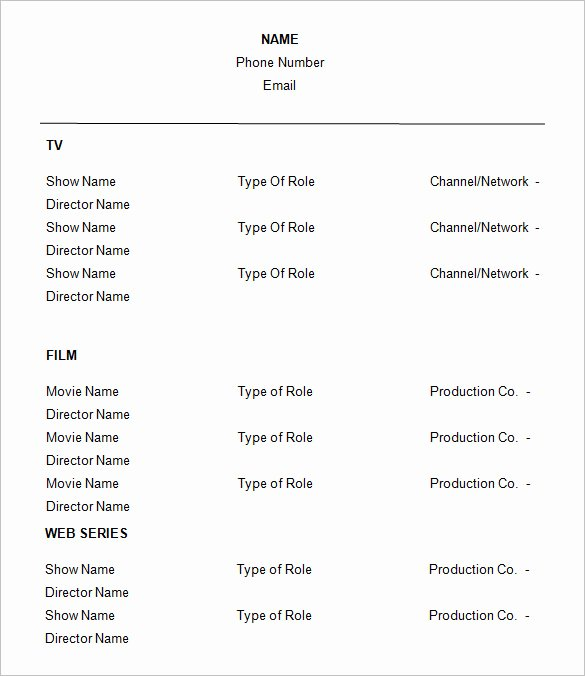 11 Acting Resume Templates Free Samples Examples