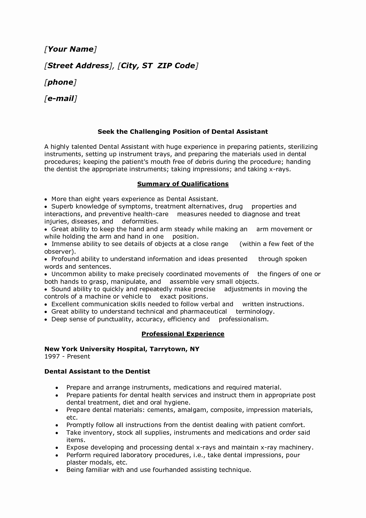 11 best dental assistant resume