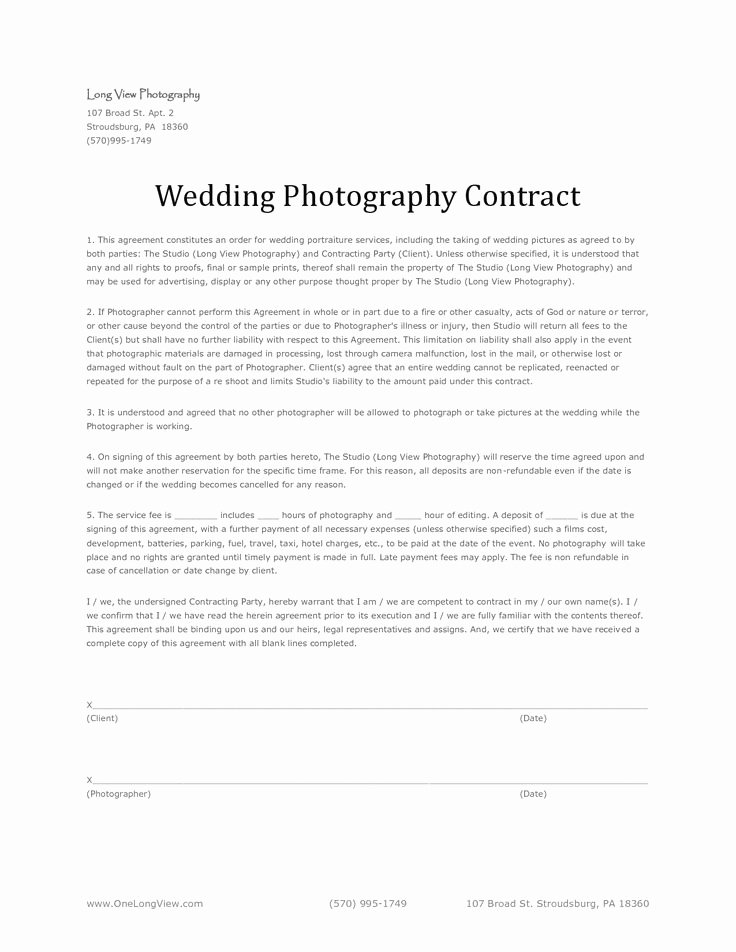 11 Best Images About Wedding Photography Contract Template