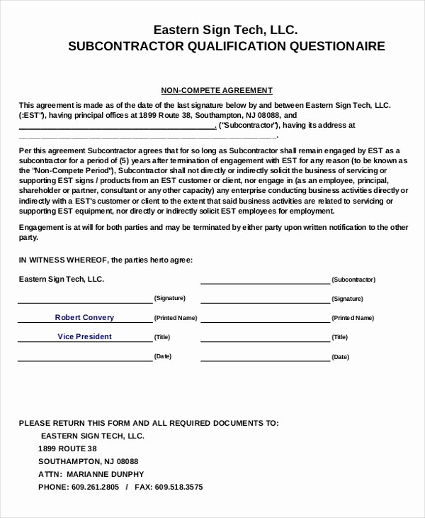 11 Business Non Pete Agreement Templates Free Sample