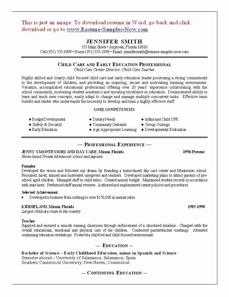 11 Child Care Sample Resume Best