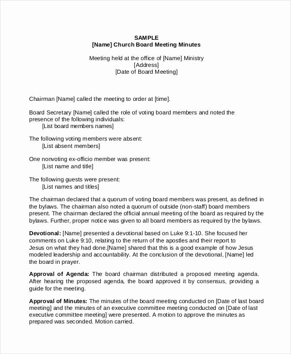 11 Church Meeting Minutes Templates