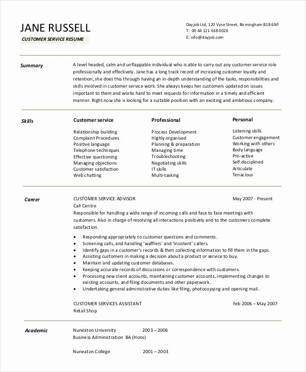 11 Customer Service Resume Templates Pdf Doc