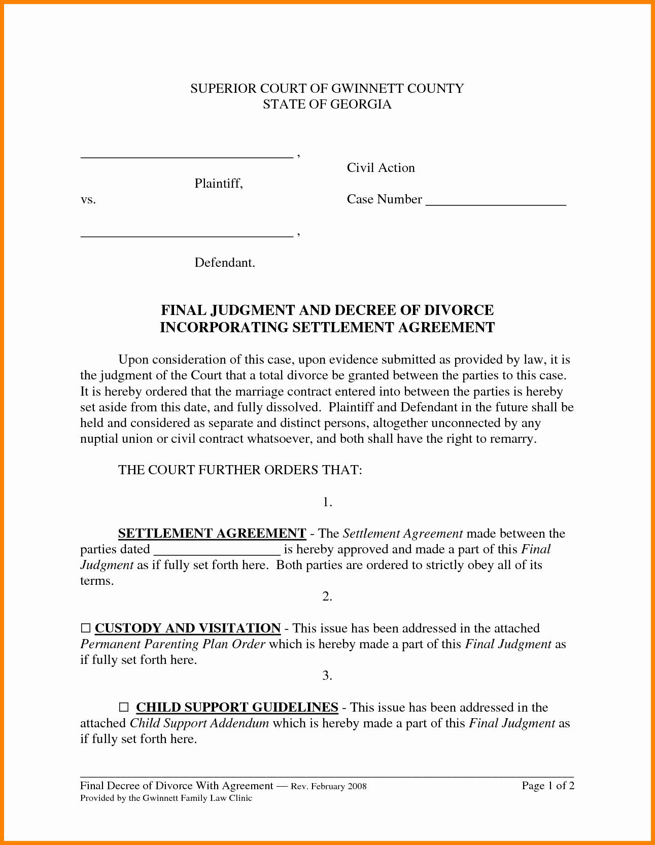 11 Divorce Settlement Agreement form Sample