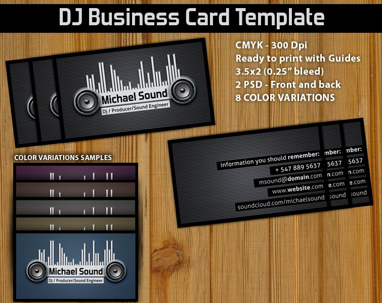 11 Dj Business Card Psd Dj Business Cards