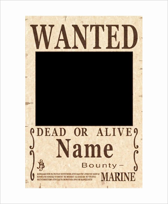 11 E Piece Wanted Poster Templates Free Printable