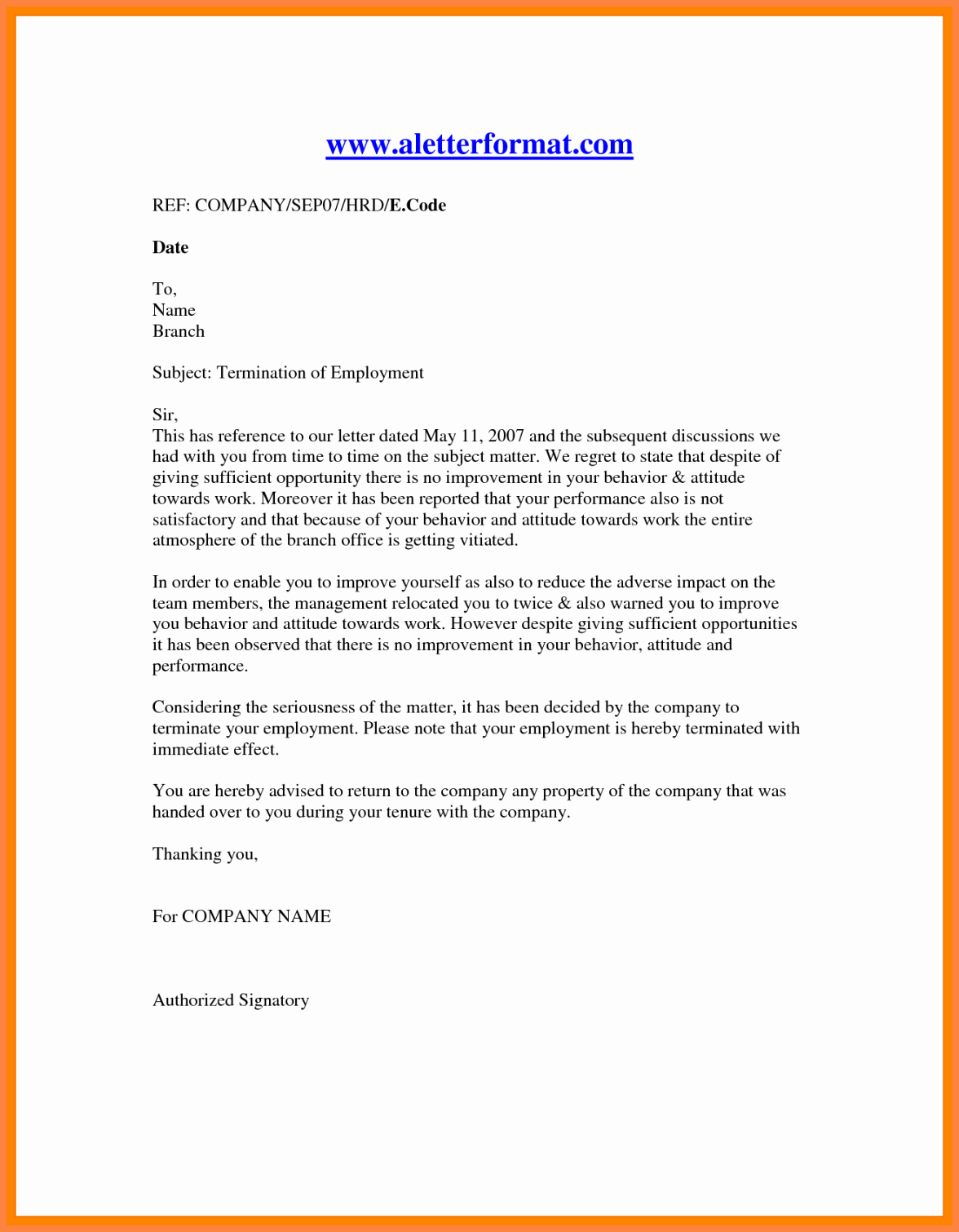 11 Employment Termination Notice Sample