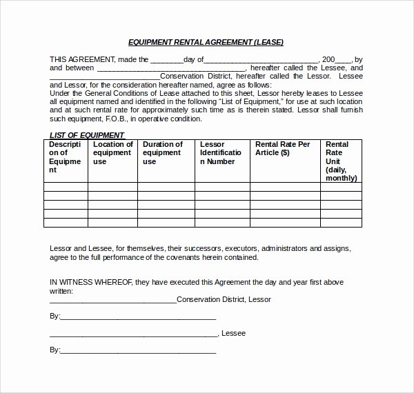 11 Equipment Lease forms to Download for Free