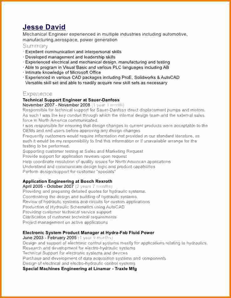 11 Experience Mechanical Engineer Resume