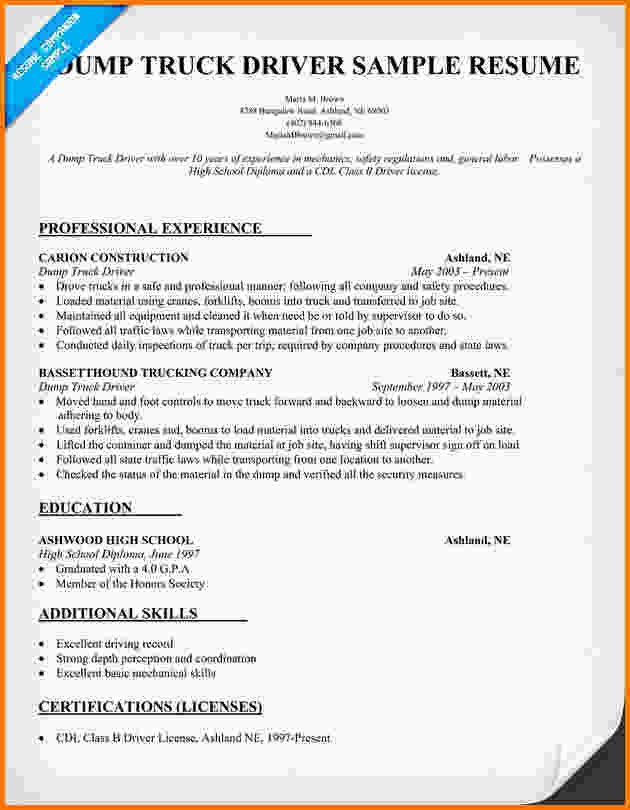 11 Flatbed Truck Driver Resume