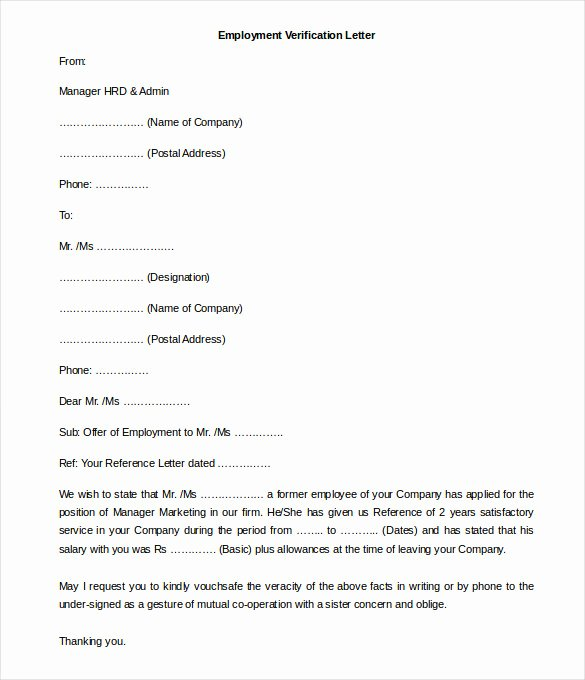11 Free Employment Letter Template Doc Pdf