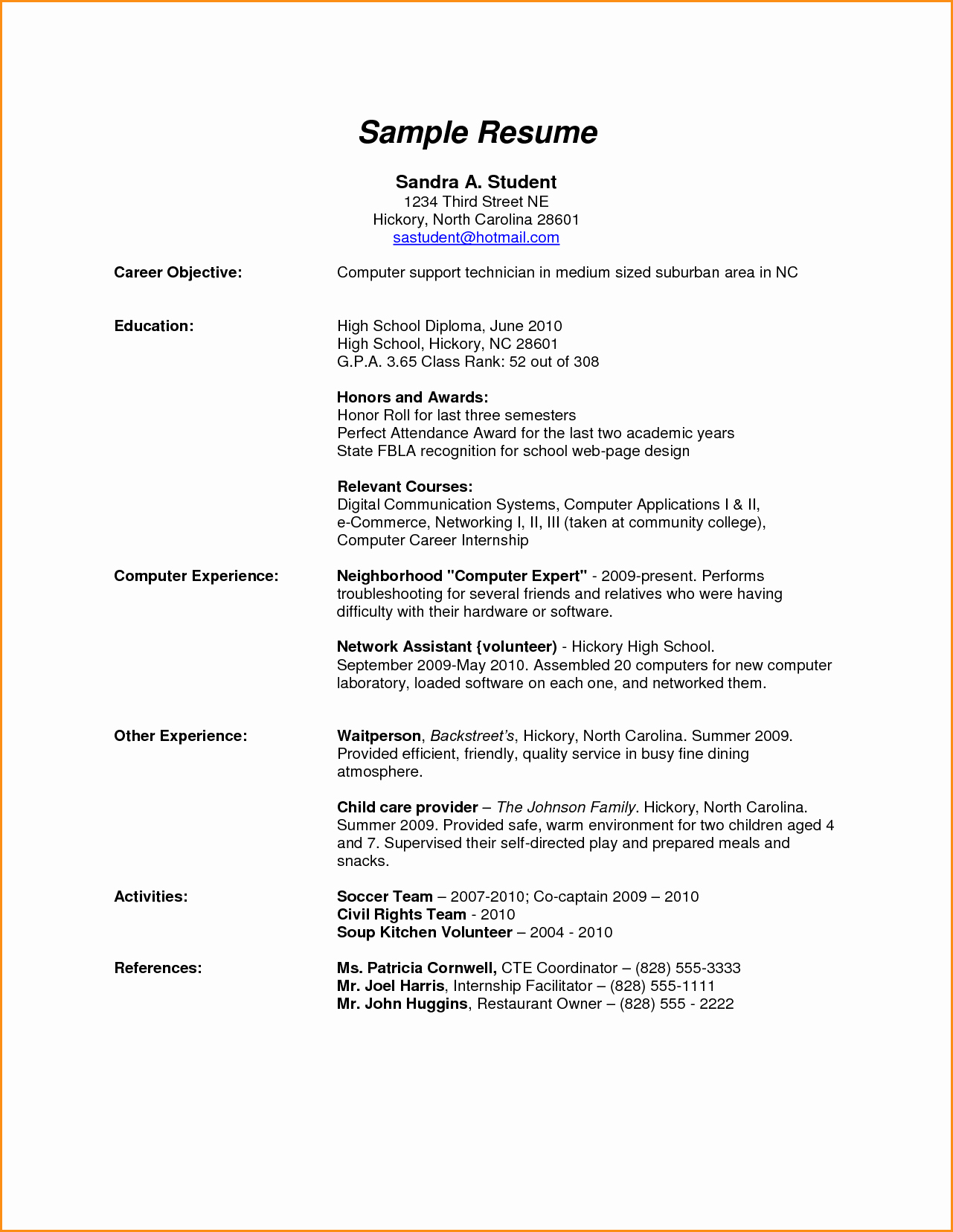 11 High School Resume Examples Pdf