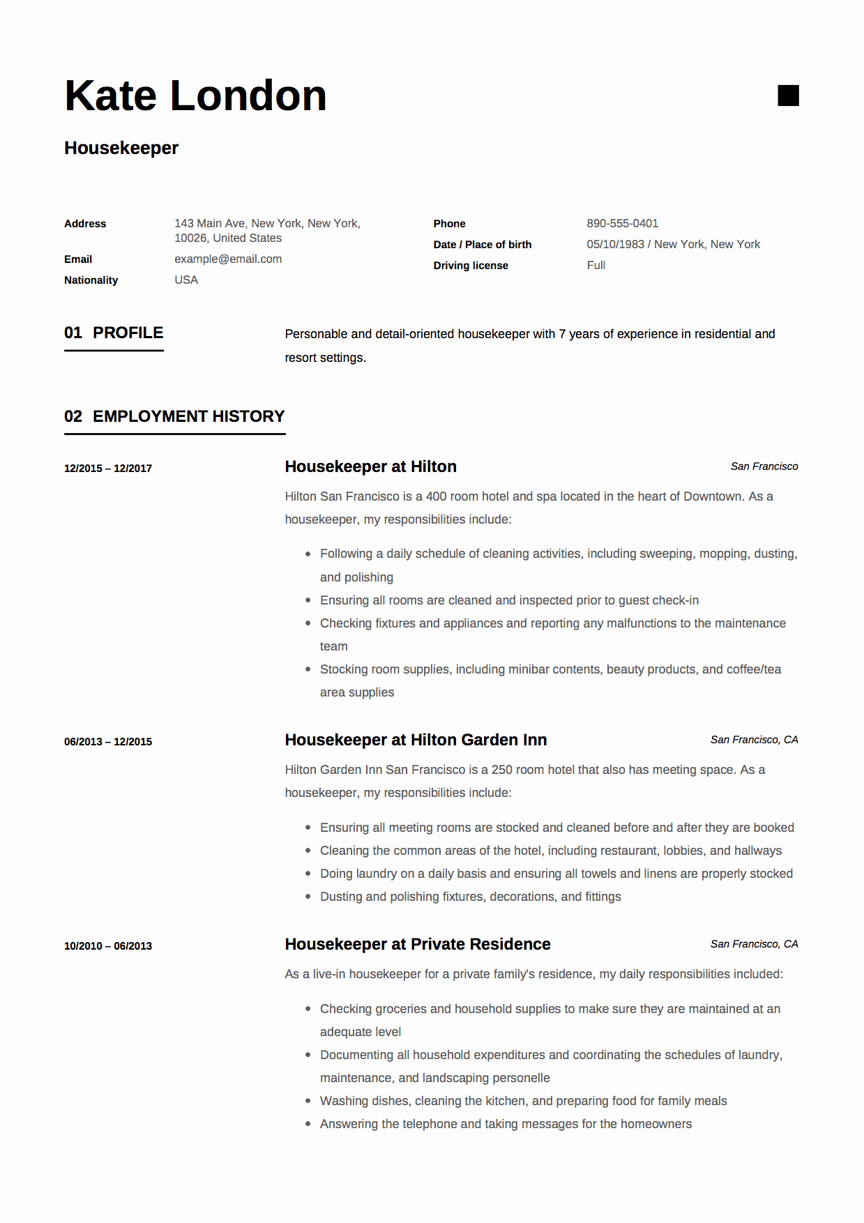 11 Housekeeper Resume Templates Free Download