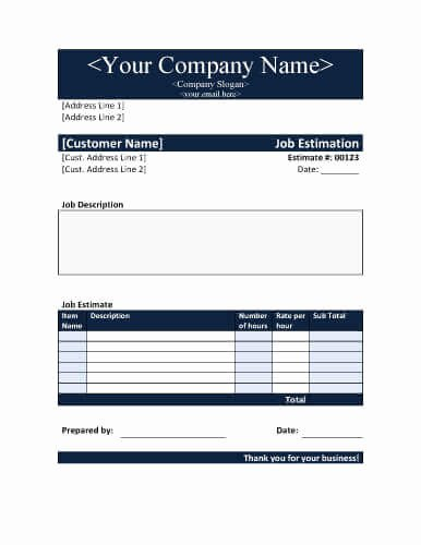 11 Job Estimate Templates and Work Quotes [excel Word]