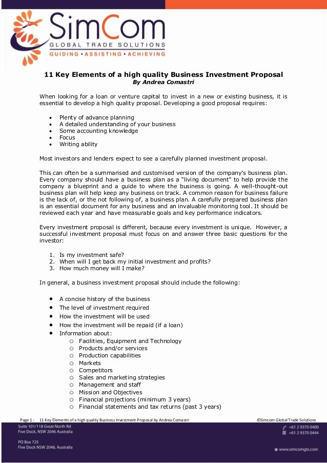 11 Key Elements Of A High Quality Business Investment Proposal