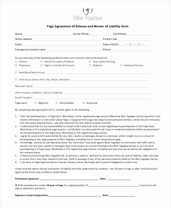 printable liability waiver forms