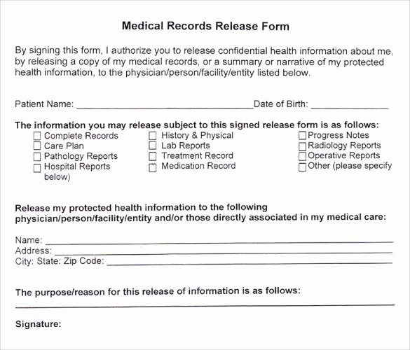 11 Medical Records Release forms – Samples Examples
