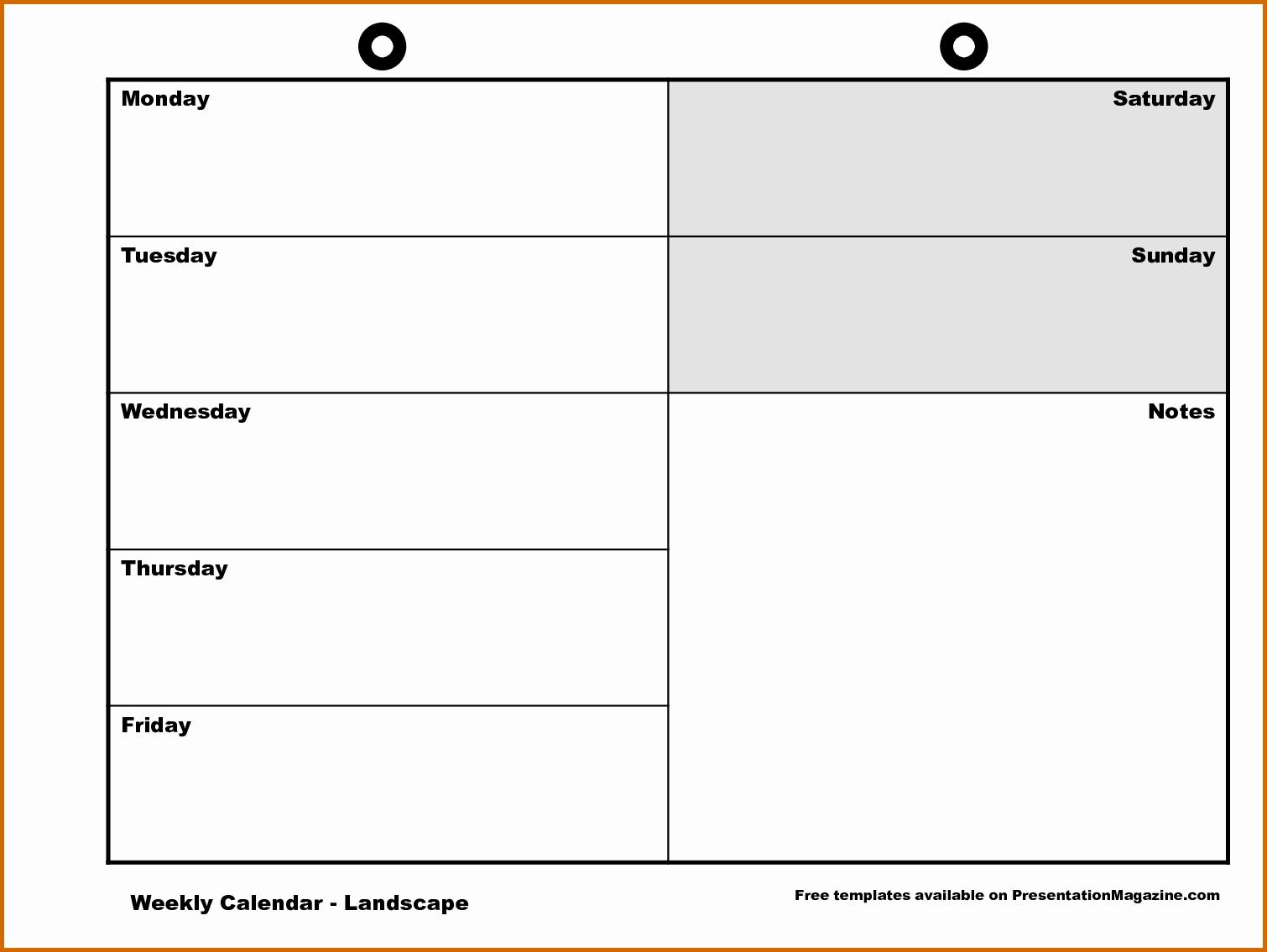 11 Monday Through Friday Printable Calendar
