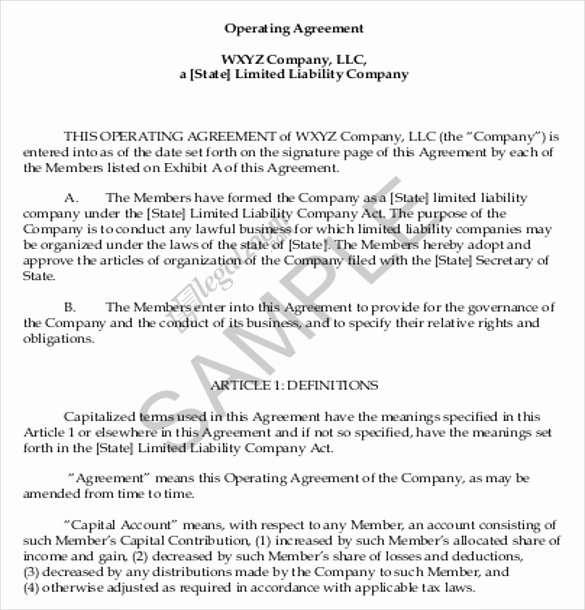 11 Operating Agreement Templates – Sample Example