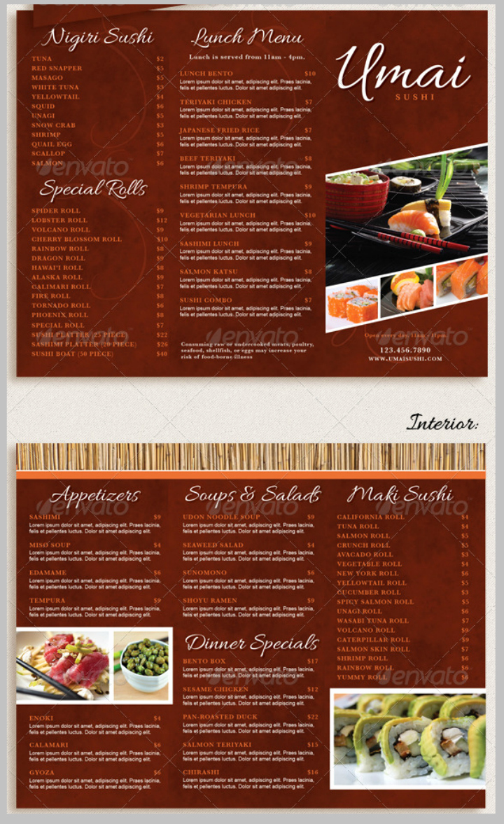 11 Restaurant Take Out Brochure Templates