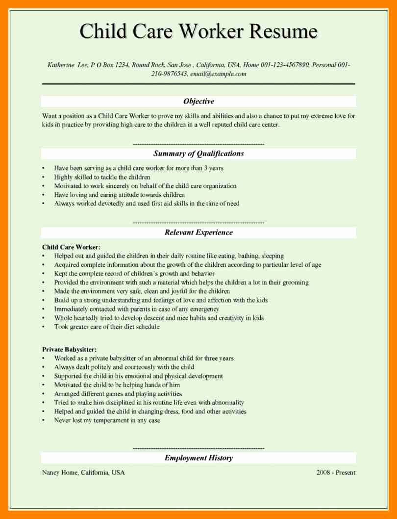 11 Resume for Child Care