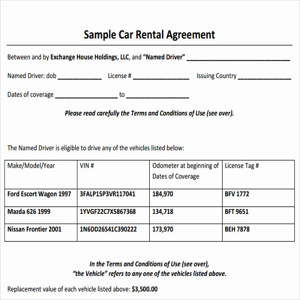 11 Sample Car Rental Agreements