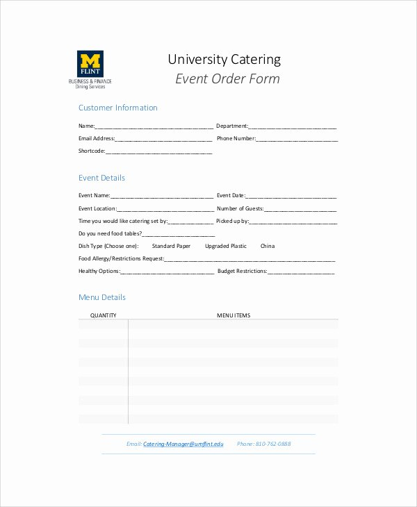 11 Sample Catering order forms