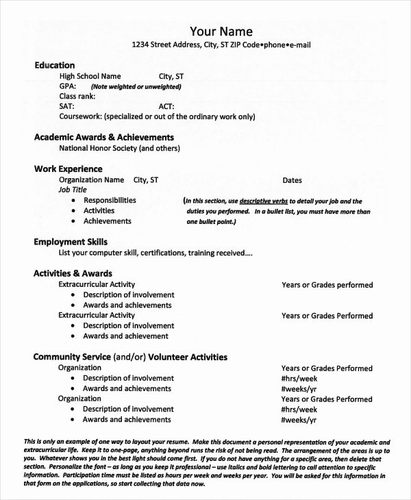 11 Sample College Resume Templates Psd Pdf Doc