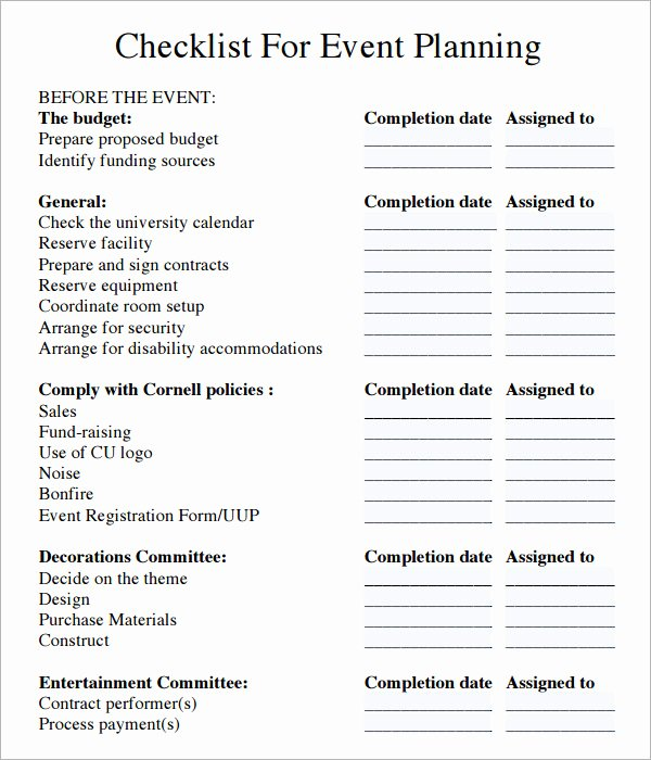 11 Sample event Planning Checklists – Pdf Word