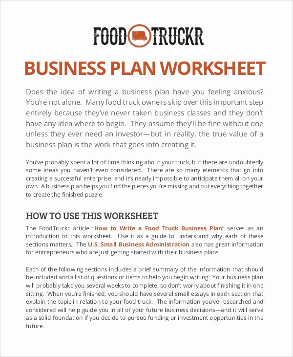 11 Sample Food Truck Business Plans – Pdf Word Pages