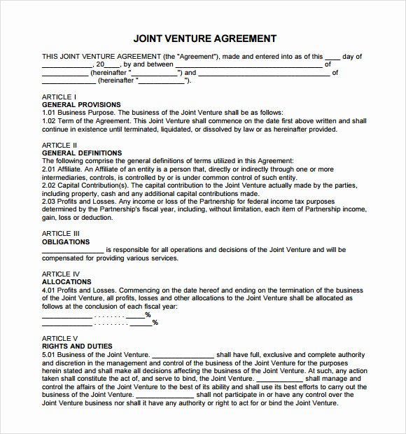 11 Sample Joint Venture Agreements