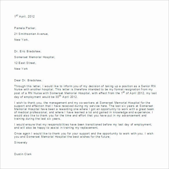 11 Sample Nursing Resignation Letter Templates Pdf Doc