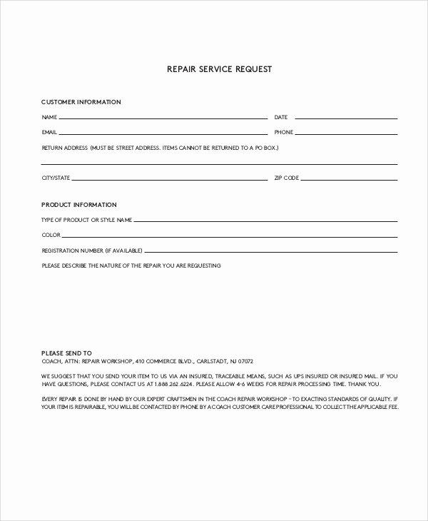 11 Sample Service Request forms