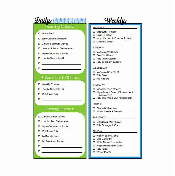 11 Sample Weekly Chore Chart Template Free Sample