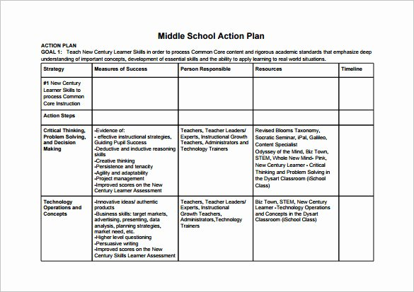 11 School Action Plan Templates Word Pdf