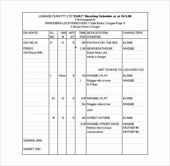 11 Shooting Schedule Templates Pdf Doc
